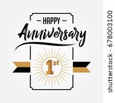 happy 1st anniversary  ... | Shutterstock .eps vector #678003100