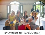 charming tourists rejoice to... | Shutterstock . vector #678024514