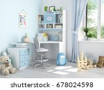 3d rendering. childrens room... | Shutterstock . vector #678024598