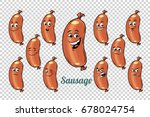 sausage emotions characters...   Shutterstock .eps vector #678024754