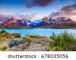 Torres Del Paine National Park, Chile. Sunrise at the Pehoe lake.