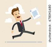 happy businessman running with... | Shutterstock .eps vector #678041680
