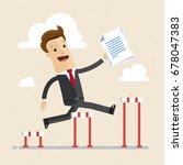 businessman jumping over...   Shutterstock .eps vector #678047383