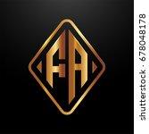 golden monogram logo curved... | Shutterstock .eps vector #678048178