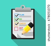 pdca  plan do check act ... | Shutterstock .eps vector #678051070