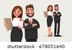 business people. couple of... | Shutterstock .eps vector #678051640