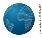 world globe with binary code ... | Shutterstock .eps vector #678056938