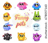 set of funny colorful fantasy... | Shutterstock .eps vector #678057160