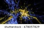 futuristic virtual cyber attack ...   Shutterstock . vector #678057829