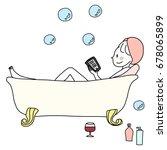 cute woman relaxing in bathtub... | Shutterstock .eps vector #678065899