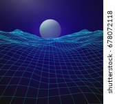 futuristic retro design. 80s... | Shutterstock .eps vector #678072118