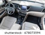 luxury car interior   steering... | Shutterstock . vector #678073594