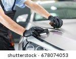 car detailing   man applies...   Shutterstock . vector #678074053