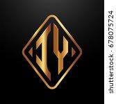 golden monogram logo curved... | Shutterstock .eps vector #678075724