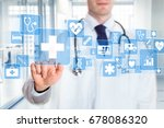 medical doctor showing icons of ... | Shutterstock . vector #678086320