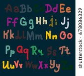 hand drawn alphabet. brush... | Shutterstock .eps vector #678086329