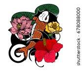 beautiful line art koi carp... | Shutterstock .eps vector #678088000