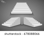 white stairs  3d staircases.... | Shutterstock .eps vector #678088066