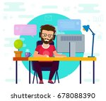 man working on computer. work... | Shutterstock .eps vector #678088390