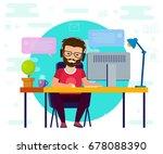 man working on computer. work... | Shutterstock .eps vector #678088390