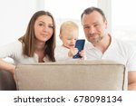 happy family of three  is... | Shutterstock . vector #678098134