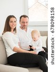happy family of three  is... | Shutterstock . vector #678098158