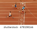 blurred motion sprint finish of ... | Shutterstock . vector #678108166