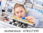 a female student or laboratory... | Shutterstock . vector #678117190