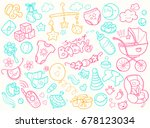 newborn infant themed cute... | Shutterstock . vector #678123034