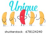 minimalist stile red banana... | Shutterstock . vector #678124240