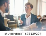 colleagues having appointment... | Shutterstock . vector #678129274