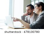 two analysts discussing online... | Shutterstock . vector #678130780