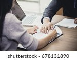 hand of woman sign contact for... | Shutterstock . vector #678131890