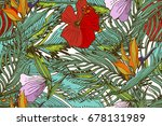 tropical seamless pattern with... | Shutterstock .eps vector #678131989