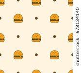 hamburger seamless pattern | Shutterstock .eps vector #678134140