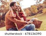 loving couple hugging outdoors... | Shutterstock . vector #678136390
