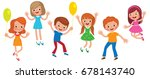 group of laughing happy... | Shutterstock .eps vector #678143740