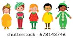 set of group of kids in... | Shutterstock .eps vector #678143746