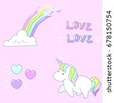 beautiful set with unicorn ... | Shutterstock .eps vector #678150754