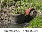 flowerpot on the ground with... | Shutterstock . vector #678155884