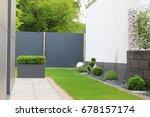 modern garden of the house | Shutterstock . vector #678157174