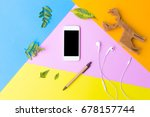 Flat Lay Phone White Screen On...