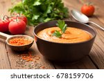 soup puree of red lentils in a... | Shutterstock . vector #678159706