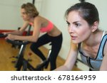two girls in fitness club | Shutterstock . vector #678164959