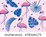 tropical   flamingo   leaves... | Shutterstock .eps vector #678166174