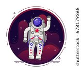 astronaut is flying in outer... | Shutterstock .eps vector #678179368
