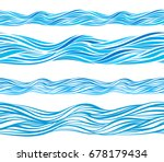 blue wave patterns  seamless... | Shutterstock .eps vector #678179434