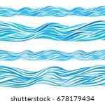 Blue Wave Patterns  Seamless...