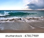 Sandy Beach With Waves In...