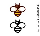 cartoon bee logo design in... | Shutterstock . vector #678184546